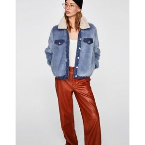 NWT Zara Faux Fur Denim Jacket